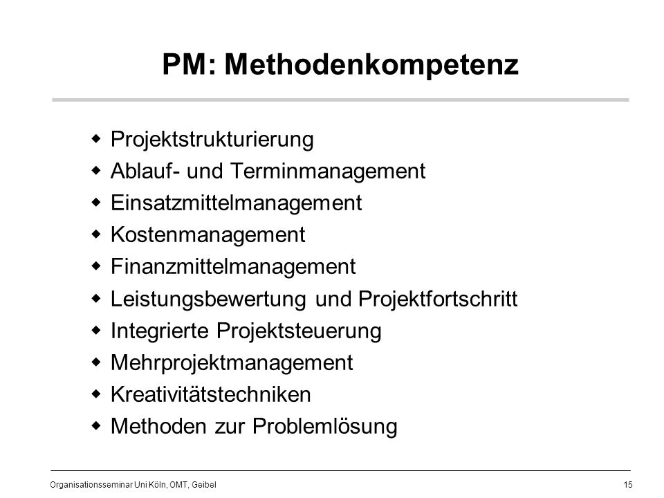 PM: Methodenkompetenz