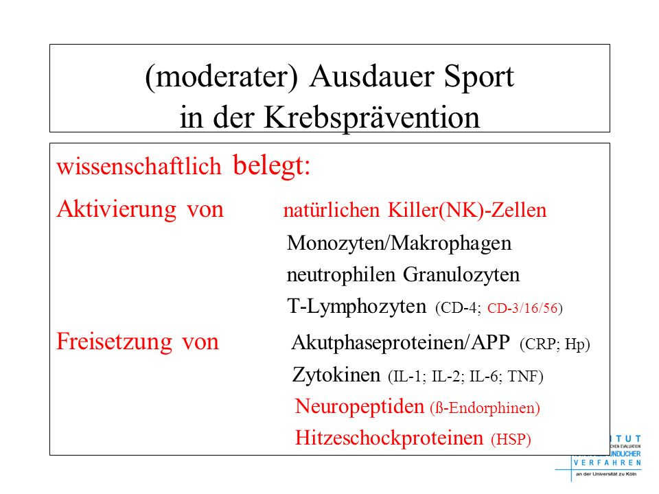 (moderater) Ausdauer Sport in der Krebsprävention