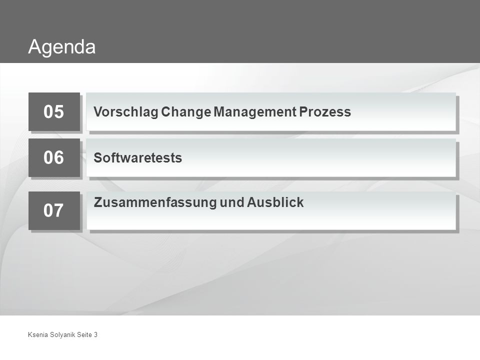 Agenda Vorschlag Change Management Prozess Softwaretests