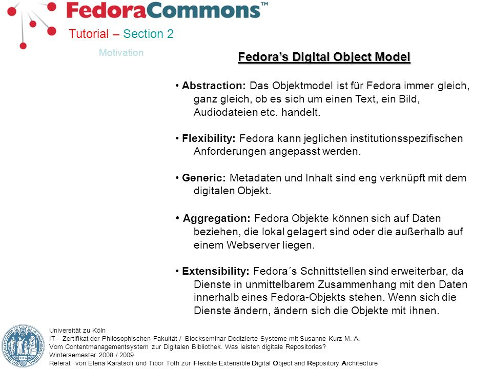Fedora's Digital Object Model