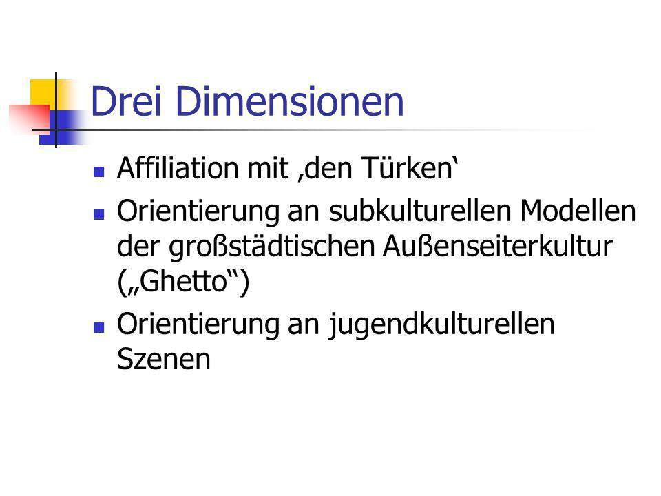 Drei Dimensionen Affiliation mit 'den Türken'