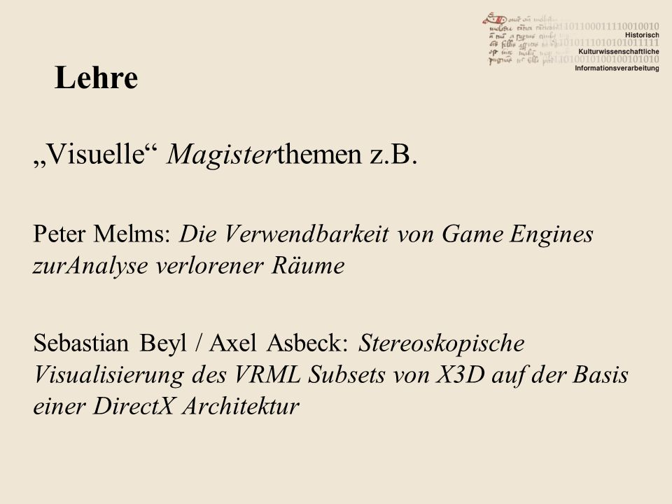 "Lehre ""Visuelle Magisterthemen z.B."