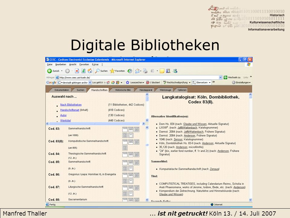Digitale Bibliotheken Digitalisierung