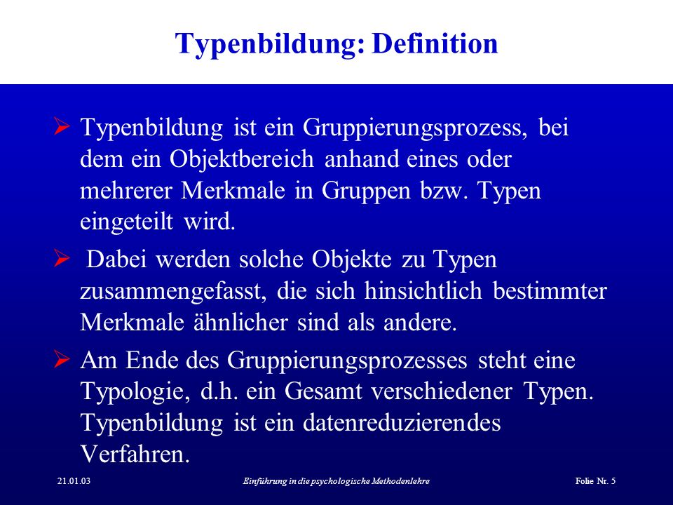 Typenbildung: Definition
