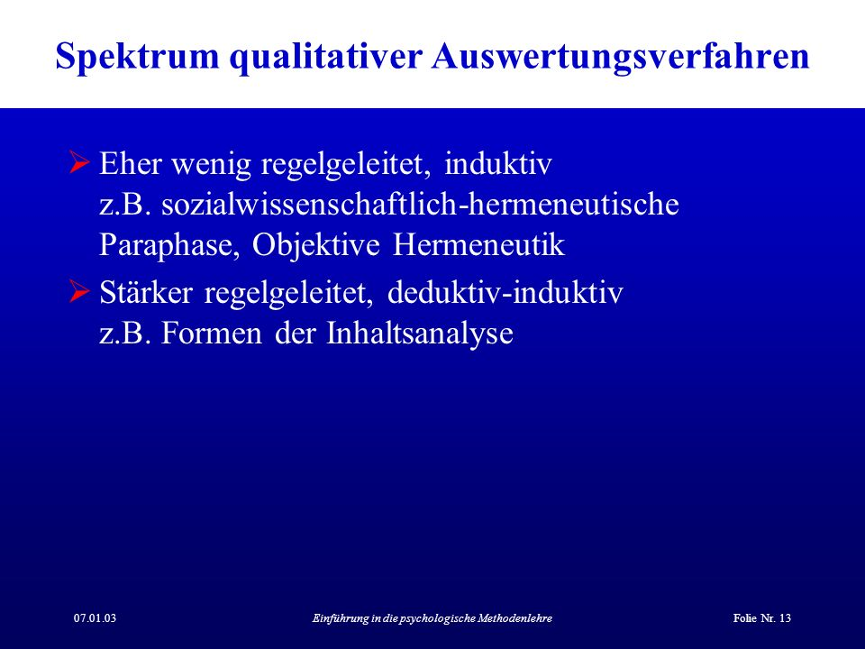 Spektrum qualitativer Auswertungsverfahren