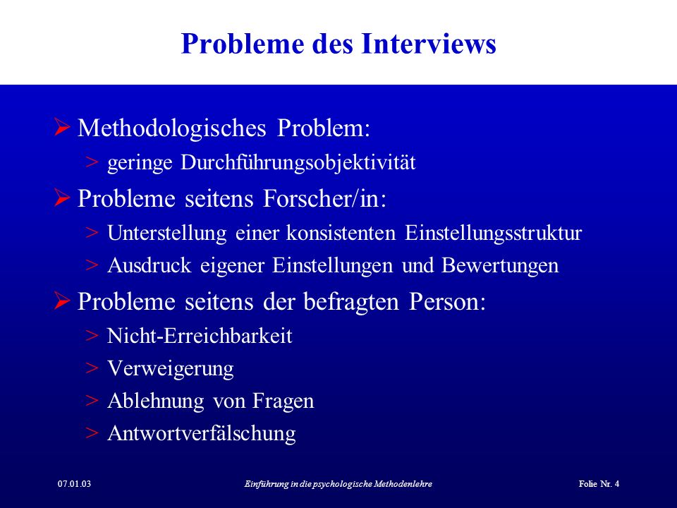 Probleme des Interviews