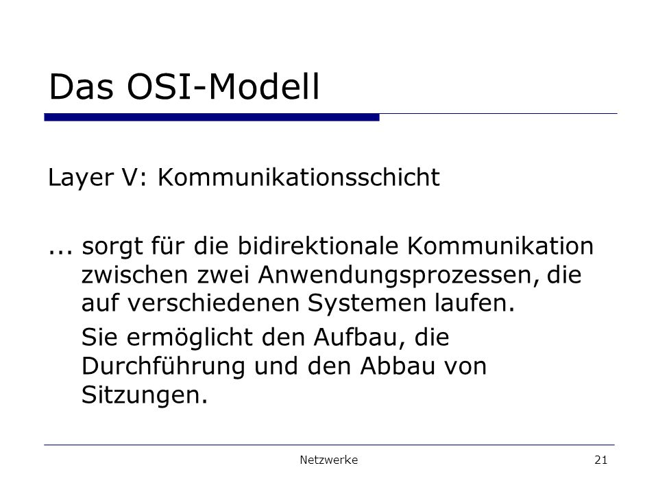 Das OSI-Modell Layer V: Kommunikationsschicht