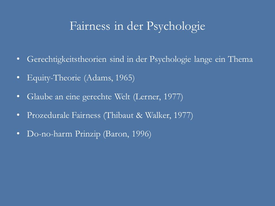 Fairness in der Psychologie