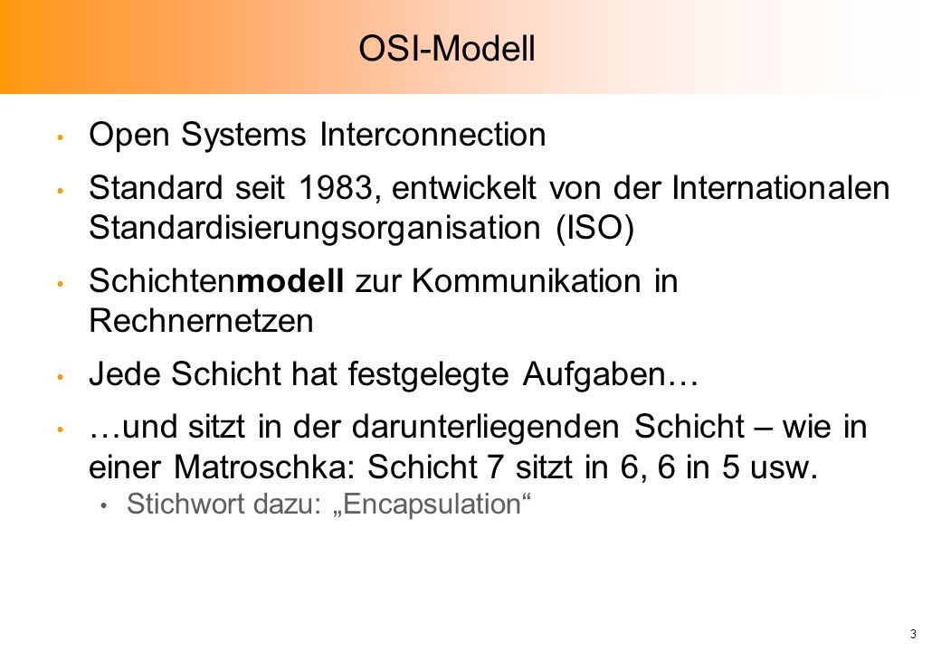 OSI-Modell Open Systems Interconnection