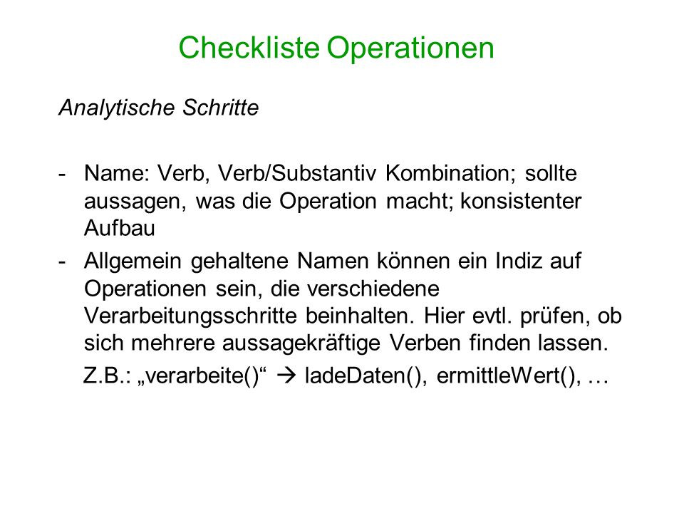 Checkliste Operationen
