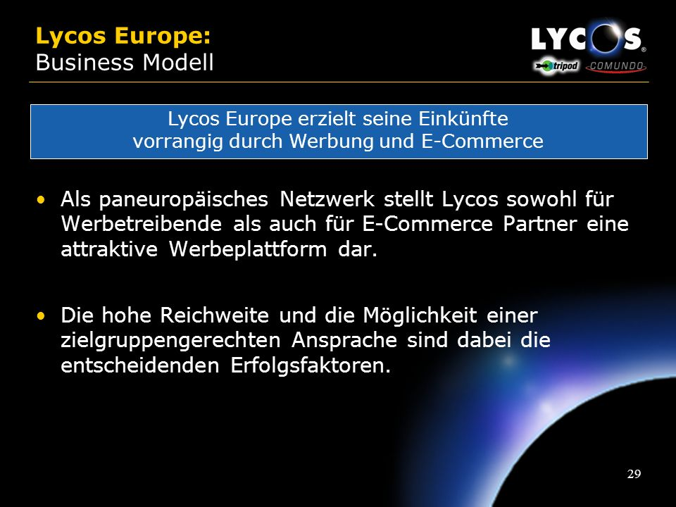 Lycos Europe: Business Modell