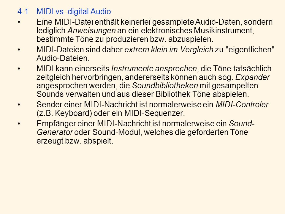 4.1 MIDI vs. digital Audio