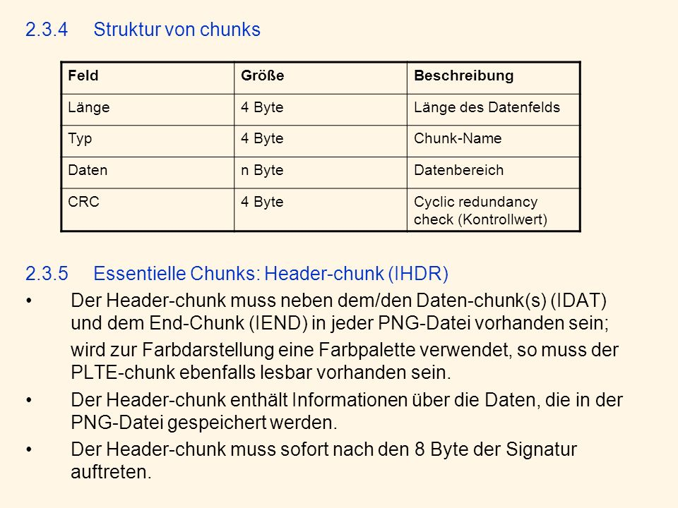 2.3.5 Essentielle Chunks: Header-chunk (IHDR)