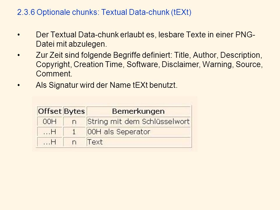 2.3.6 Optionale chunks: Textual Data-chunk (tEXt)