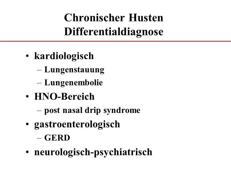 Chronischer Husten Differentialdiagnose