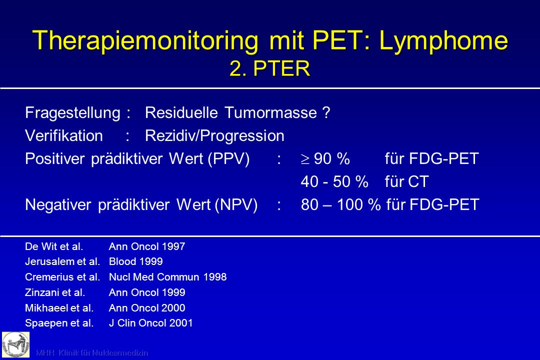 Therapiemonitoring mit PET: Lymphome 2. PTER