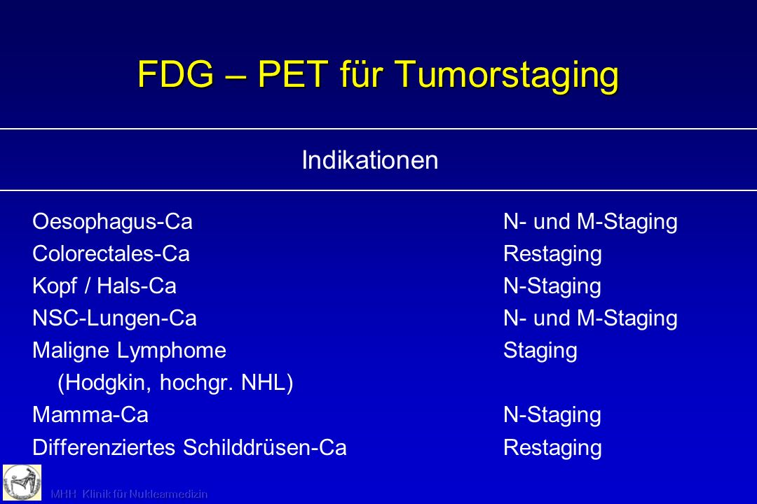 FDG – PET für Tumorstaging