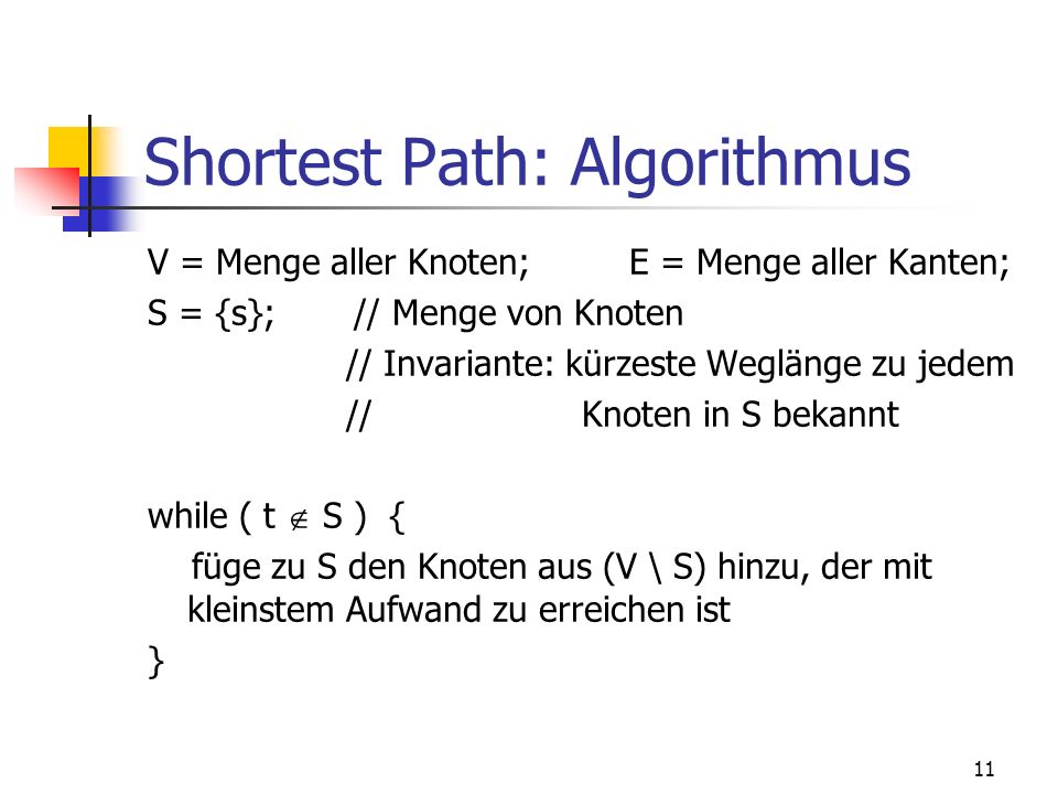 Shortest Path: Algorithmus