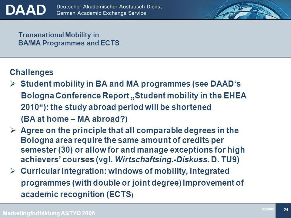 Transnational Mobility in BA/MA Programmes and ECTS