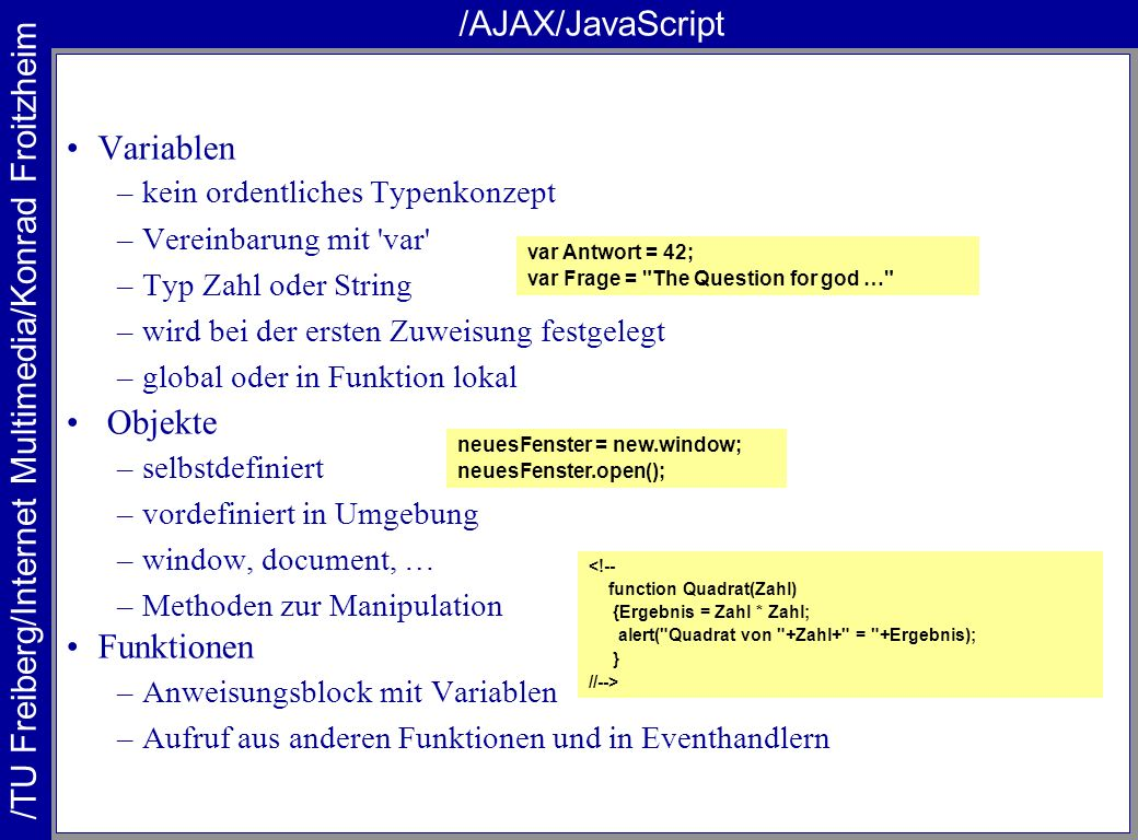 /AJAX/JavaScript Variablen Objekte Funktionen