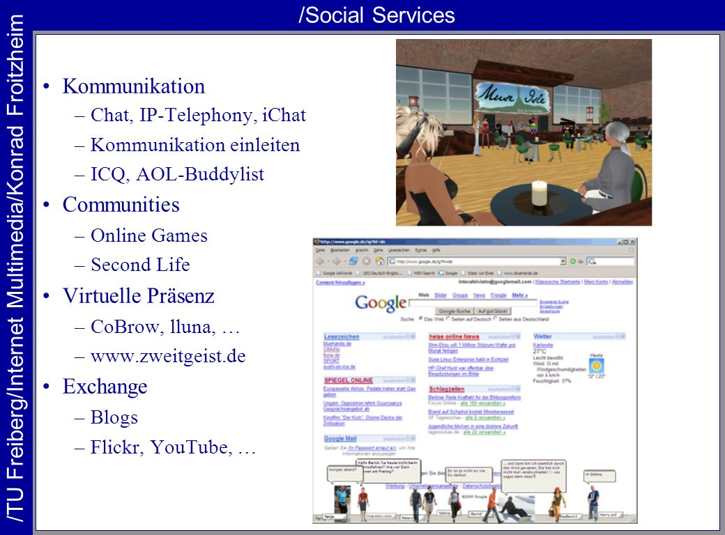 /Social Services Kommunikation Communities Virtuelle Präsenz Exchange
