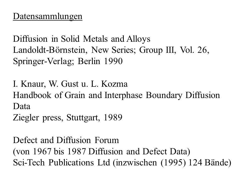 Datensammlungen Diffusion in Solid Metals and Alloys. Landoldt-Börnstein, New Series; Group III, Vol. 26,