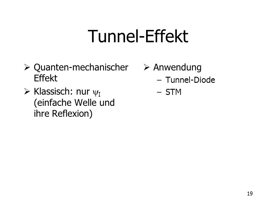 Tunnel-Effekt Quanten-mechanischer Effekt