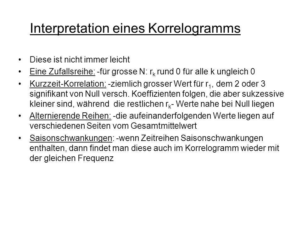 Interpretation eines Korrelogramms