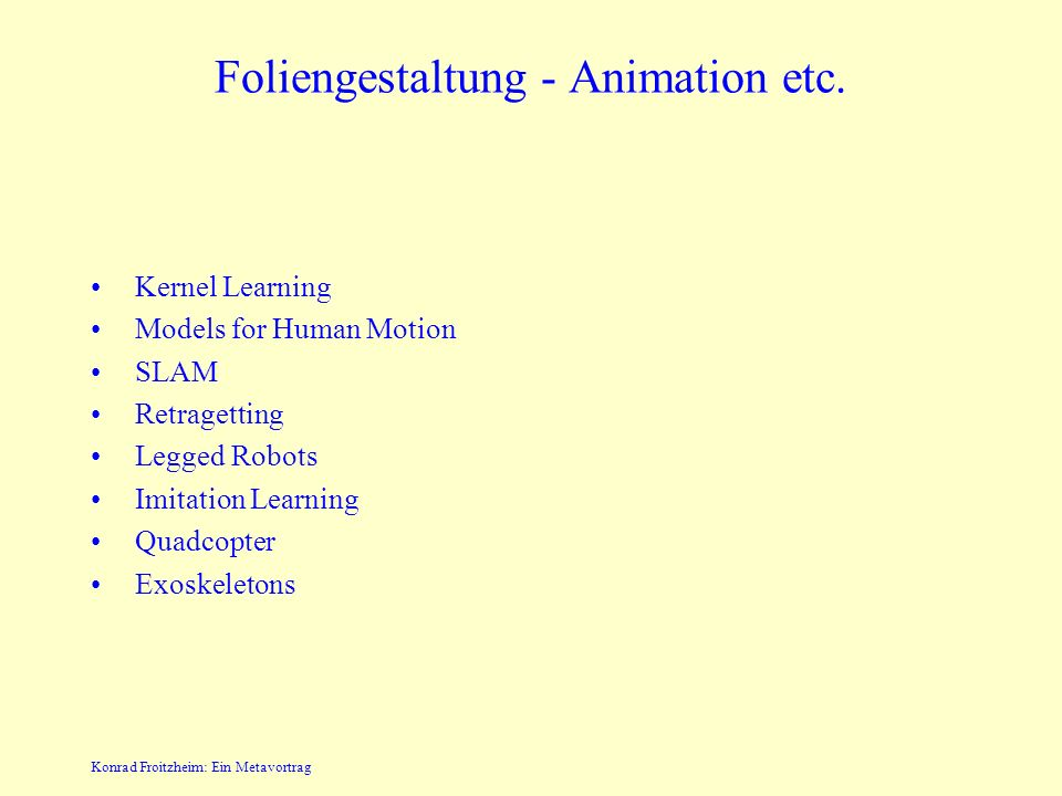 Foliengestaltung - Animation etc.