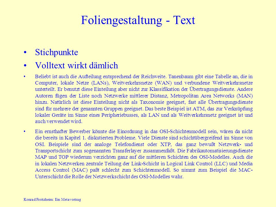 Foliengestaltung - Text