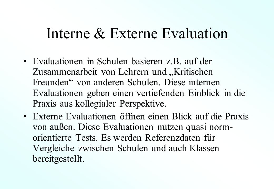 Interne & Externe Evaluation