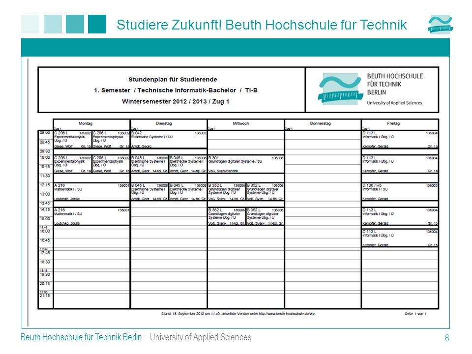 Beuth Hochschule für Technik Berlin – University of Applied Sciences 8