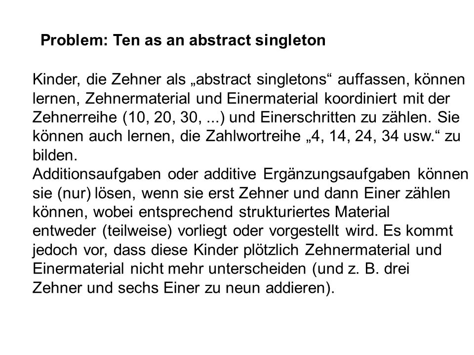 Problem: Ten as an abstract singleton