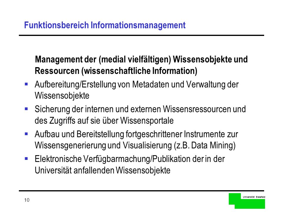 Funktionsbereich Informationsmanagement