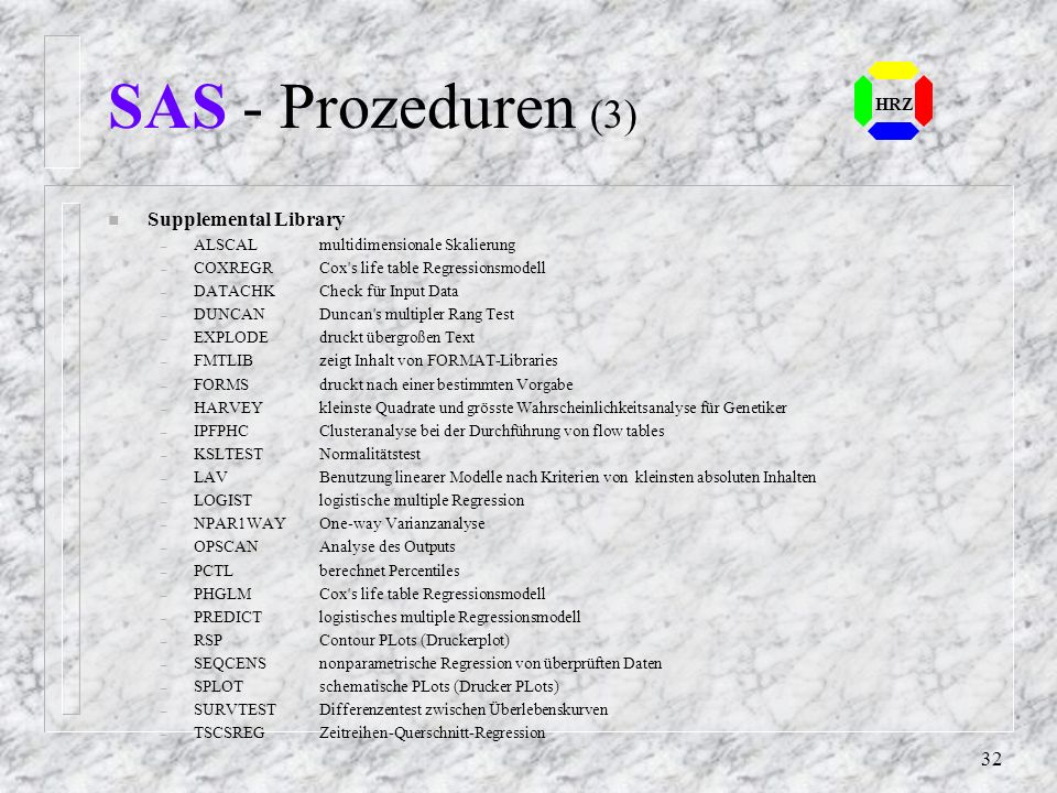 SAS - Prozeduren (3) Supplemental Library HRZ