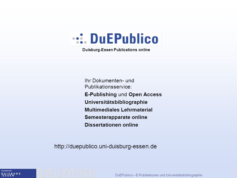 Duisburg-Essen Publications online