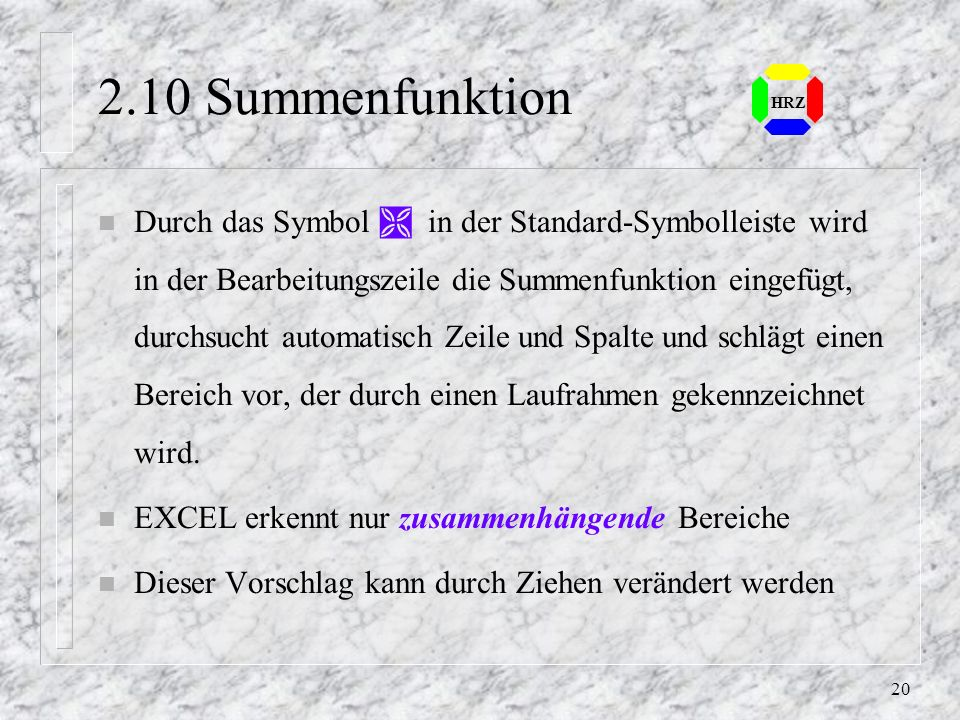 2.10 Summenfunktion HRZ.