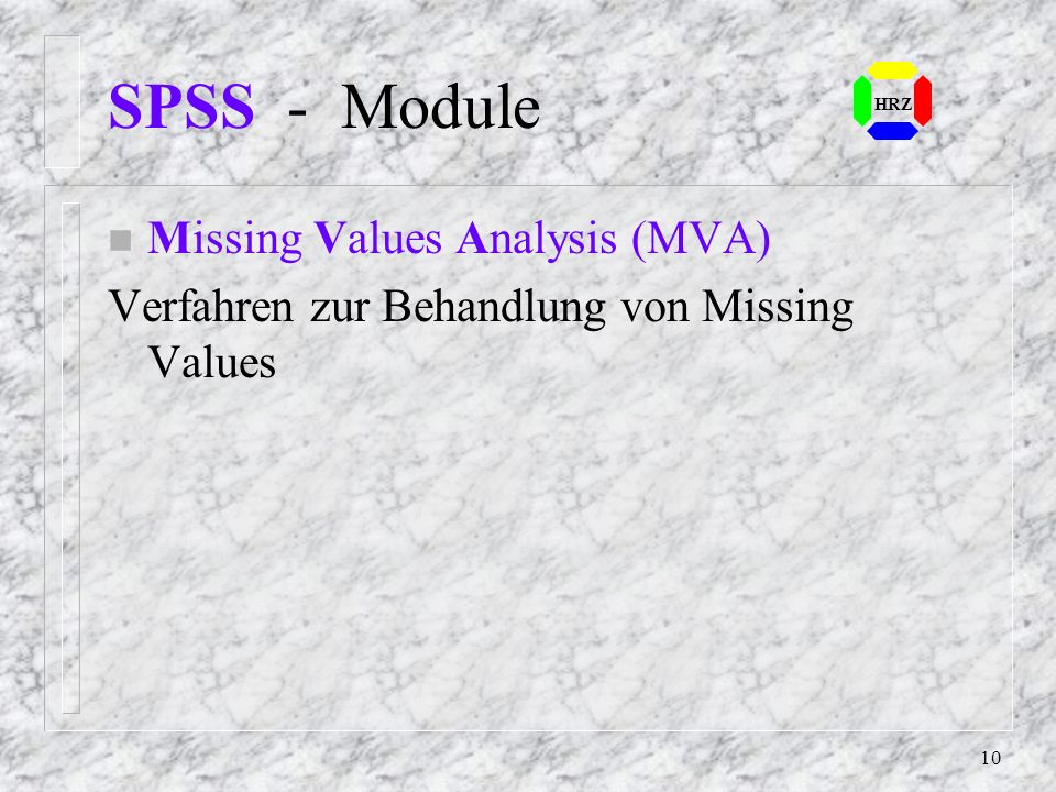 SPSS - Module Missing Values Analysis (MVA)
