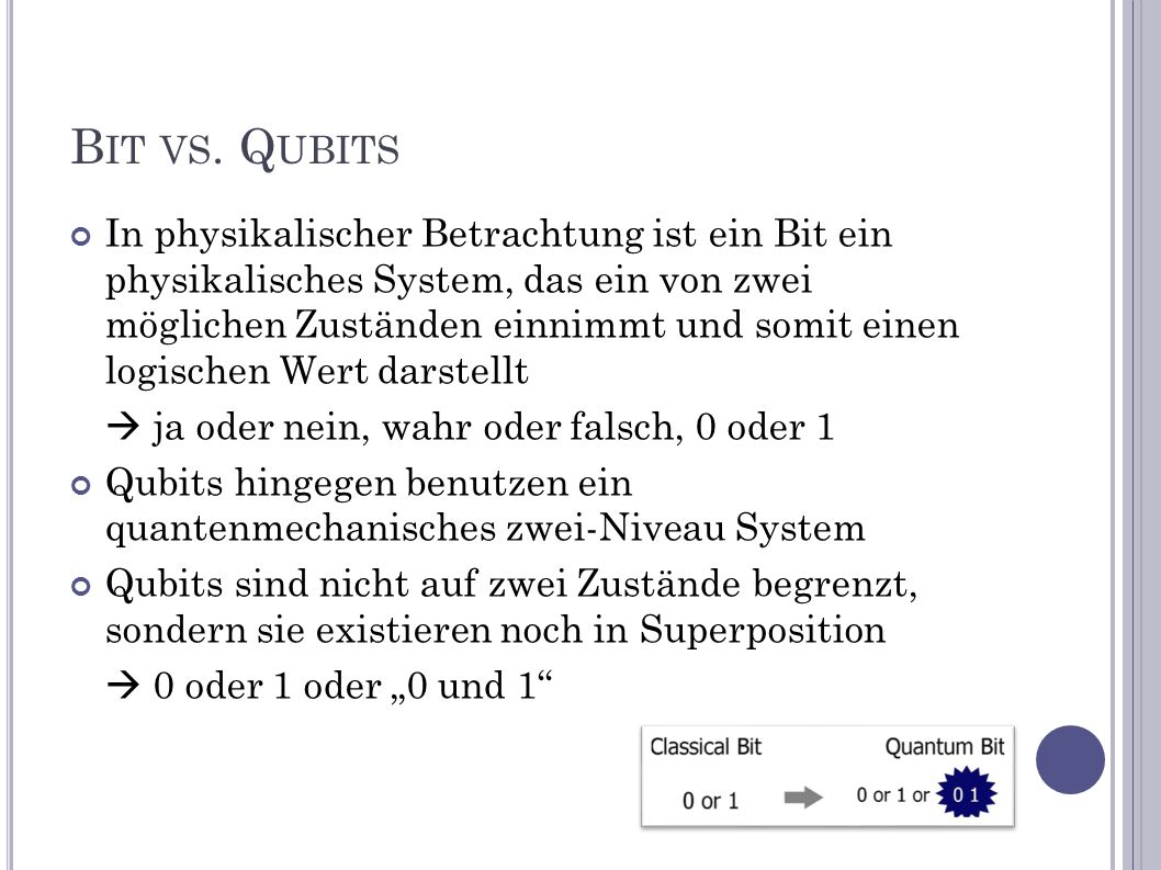Bit vs. Qubits