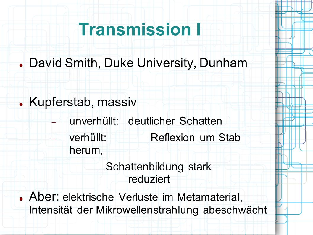 Transmission I David Smith, Duke University, Dunham Kupferstab, massiv