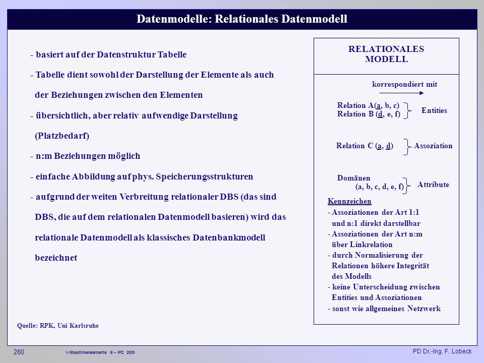 Datenmodelle: Relationales Datenmodell