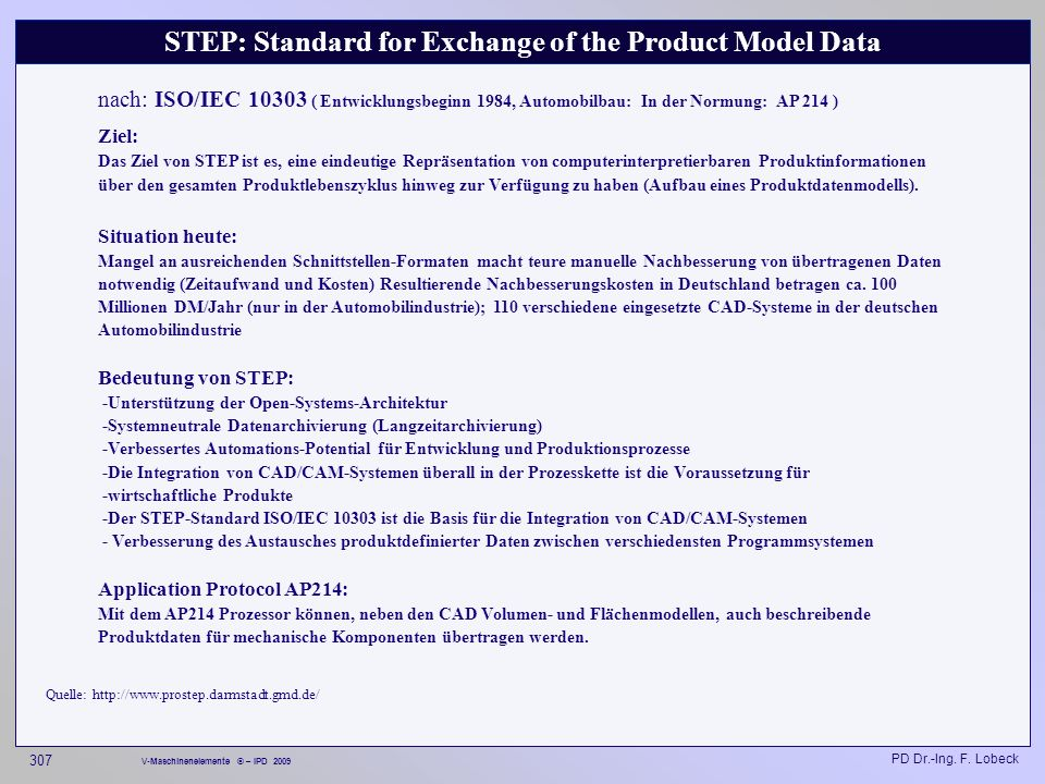 STEP: Standard for Exchange of the Product Model Data