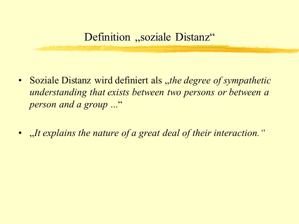 "Definition ""soziale Distanz"