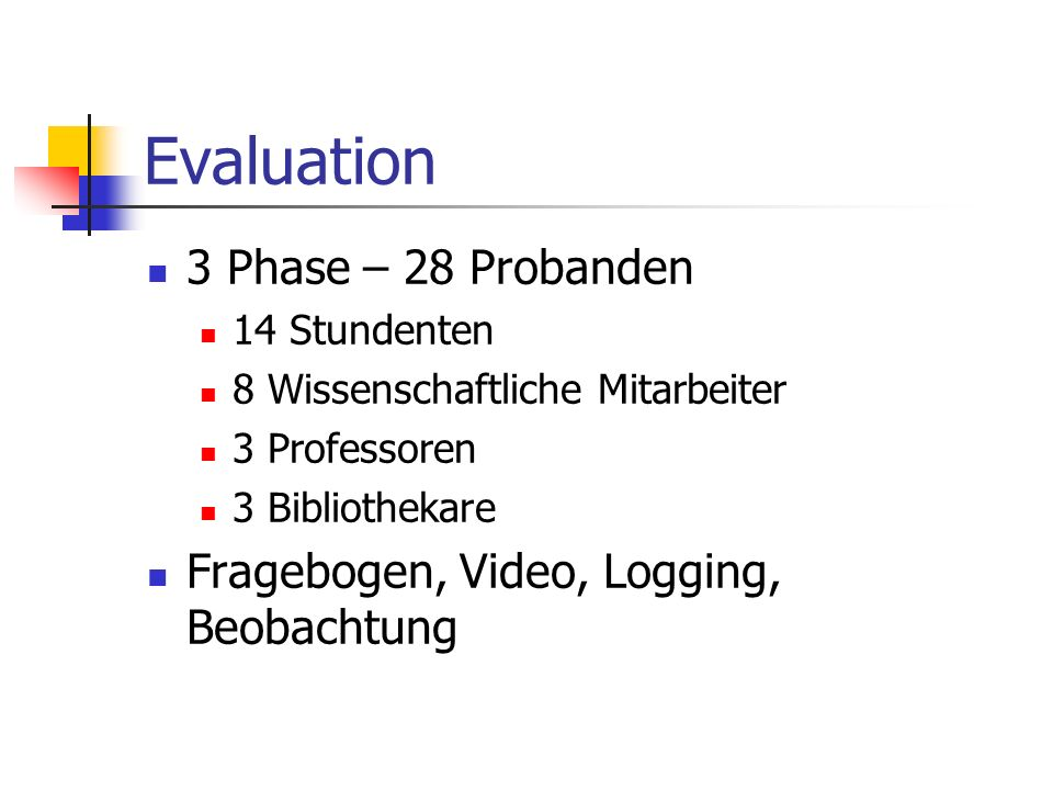 Evaluation 3 Phase – 28 Probanden
