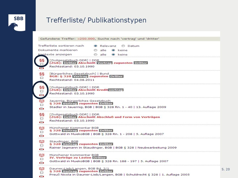Trefferliste/ Publikationstypen