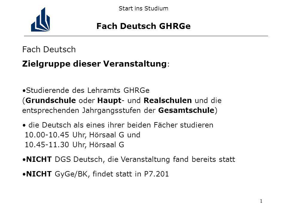 Start ins Studium Fach Deutsch GHRGe