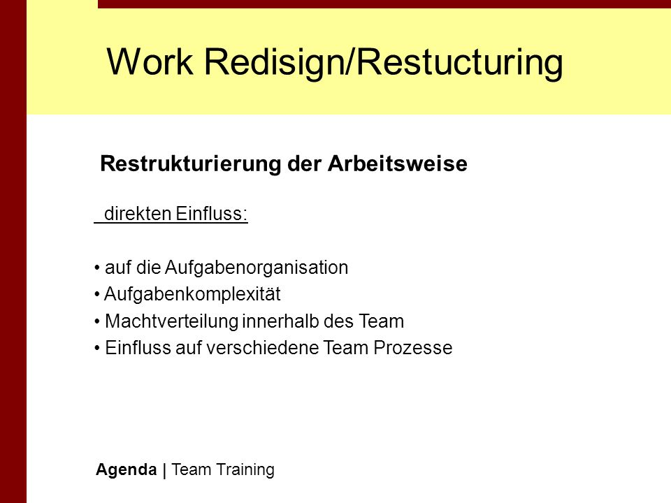 Work Redisign/Restucturing