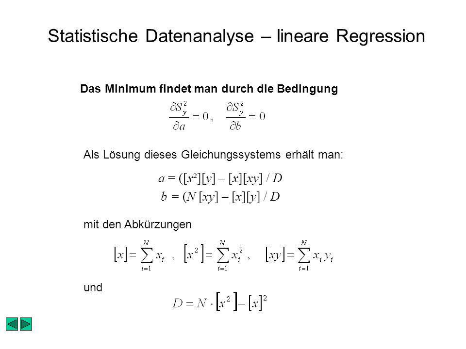 Statistische Datenanalyse – lineare Regression
