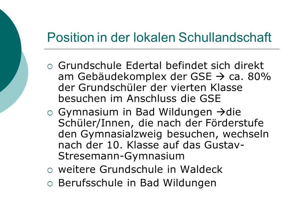 Position in der lokalen Schullandschaft