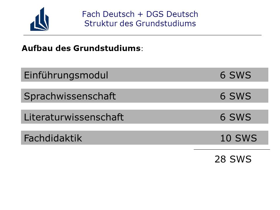 Fach Deutsch + DGS Deutsch Struktur des Grundstudiums
